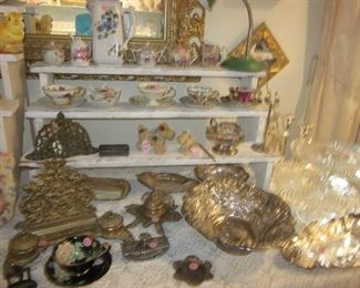 brass items, china & small Steiff dog
