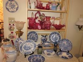 cranberry glass, blue & white china