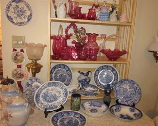 cranberry glass, blue & white china