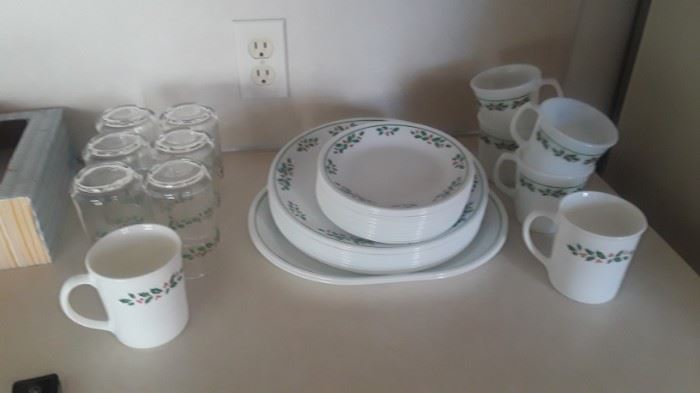 """Christmas Corelle """"Winter Holly"""" 1980's.  2 sets of Corningware Christmas coffee cups."""