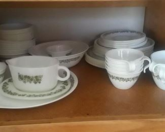 """Green & White Corelle """"Spring Blossom"""". Large set, some pieces not pictured."""