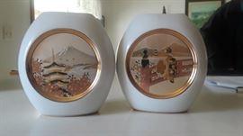 The Art Of Chokin, Japan. 24 kt  Gold Filigree Vases.