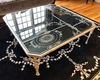 Minton Slidell Glass Top Cocktail Table, metal base