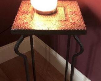 Mosaic Table with Pink Himalayan Sea Salt Lamp