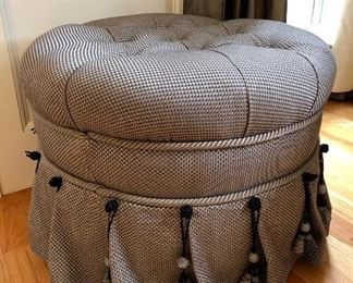 Tufted Ottoman, grey and white upholstery