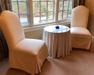 Pair of Parson's Chairs with Slip Covers.