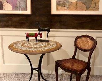 Mosaic Top Table, antique chair