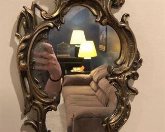 Art Nouveau Brass Wall Mirror