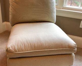 Cushy Slipper Chair, gingham check
