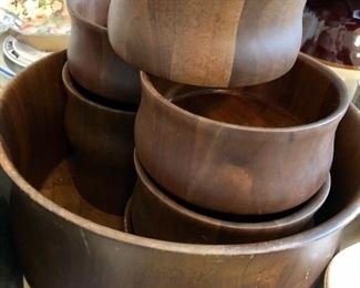 Vintage walnut salad bowl set