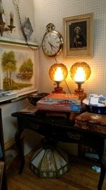 Painted Oak Desk and Lamps