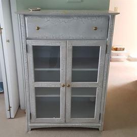 "Glass door dresser, finished in ""crackle-paint"""