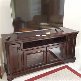 Beautiful cherry TV console, 50-inch LG TV