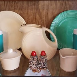 Vintage Fiesta plates and pitcher