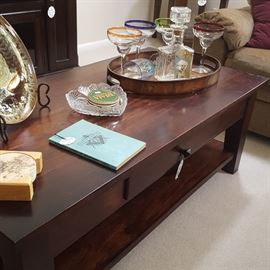 Teak wood coffee table and end tables