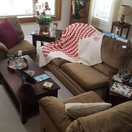 Three-piece sectional sofa set; Teak wood coffee and two end tables