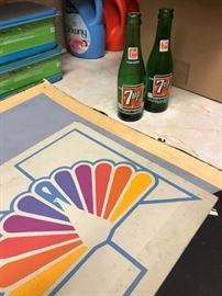 NBC TV Original graphic design artwork, 7up vintage advertising bottles