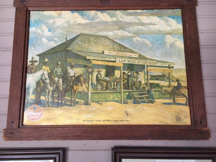 "Pearl Beer iconic advertising piece ""Law West of the Pecos"""