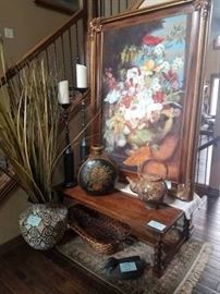 Artwork and decorative mantle pieces