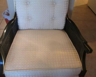 Occasional Chair with Dark Wicker Detail and Upholstered Cushions