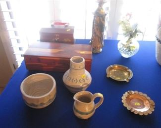 Pottery Boxes, Vases, Ash Trays