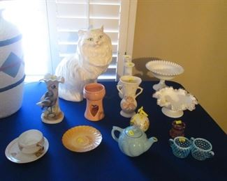"""Hob Nail Milk Glass Vases (2), Footed Bowl, Fluted Bowl, and 2 Blue Hob Nail Pieces and a """"Watchful Cat""""."""
