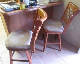 2-Bar Stools, Wood & Upholstered Seats