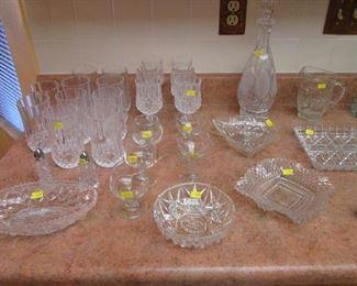Decanter, Stem Ware, Goblets, Salt/Pepper and Assorted Glassware & Serving Pieces
