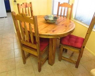 """42"""" Round Table/4-Chairs with Cushions, Rustic Styling and Hand-Crafted"""