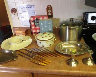 Lazy Susan, Steak Knives, Cookbooks, Halls Kitchenware Covered Casserole, Candlesticks & Tray
