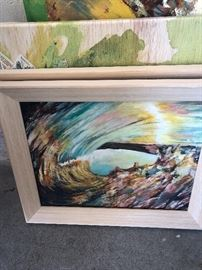 Original art painting - this is upside down - in the tube of a wave