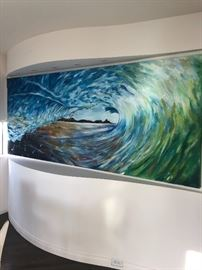 Very large original painting of a wave - Samantha Chilvers 10' X Appx 40""