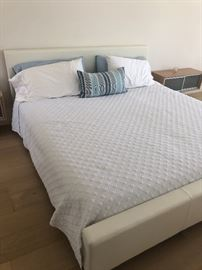 California King Size bed - SOLD  and white leather frame SOLD - all bedding still available