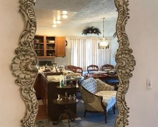 Antique Ornate large 4' X 5' carved wood Mirror
