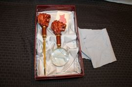 Italian Lion head magnifying glass and letter opener