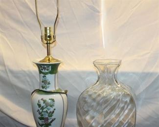 Large glass vase and lamp