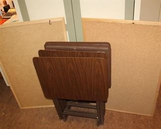 folding tables and bulletin boards
