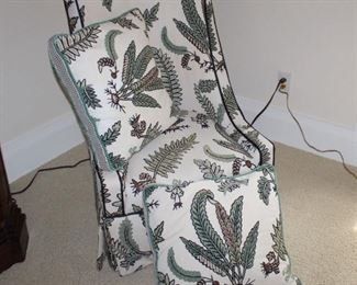 Fern embroidered side chair
