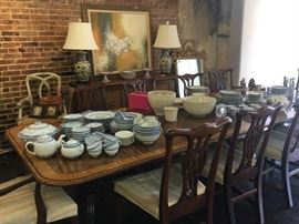 Beautiful Baker Mahogany Table, seats 10.  Has matching set of 10 chairs - 8 side and 2 arm.  Also pictured Baker Buffet
