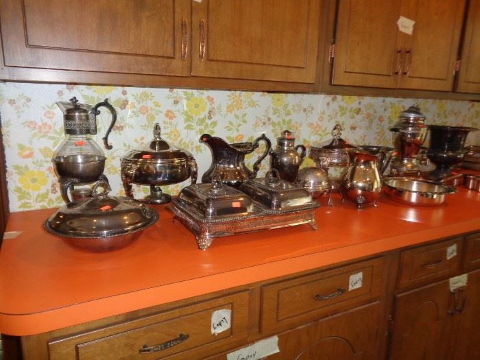 Lots of Vintage Silver Plate Serving Pieces
