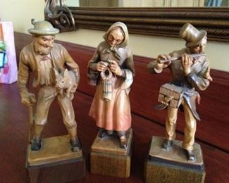 Carved wooden European figures