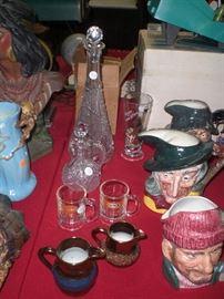 cut glass, copper lustre, miniature A&W root beer mugs, etc.