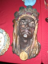 cigar store Indian chalkware bust plaque