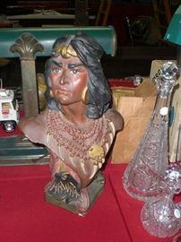 Hiawatha cigar store Indian chalkware bust