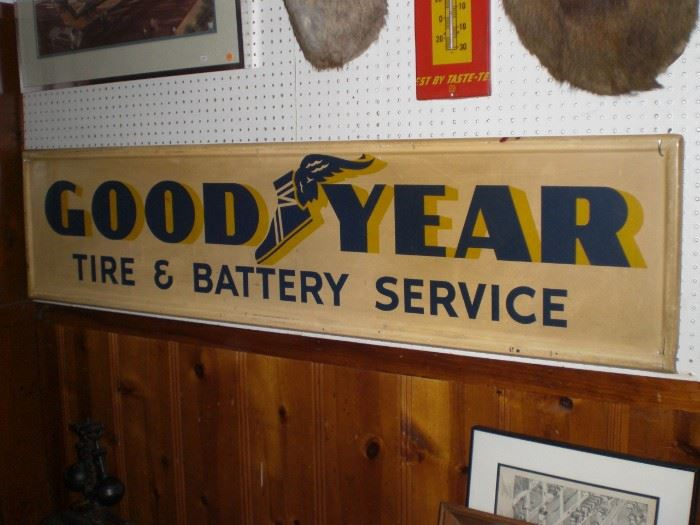 6ft. GOOD YEAR tire & battery service metal sign
