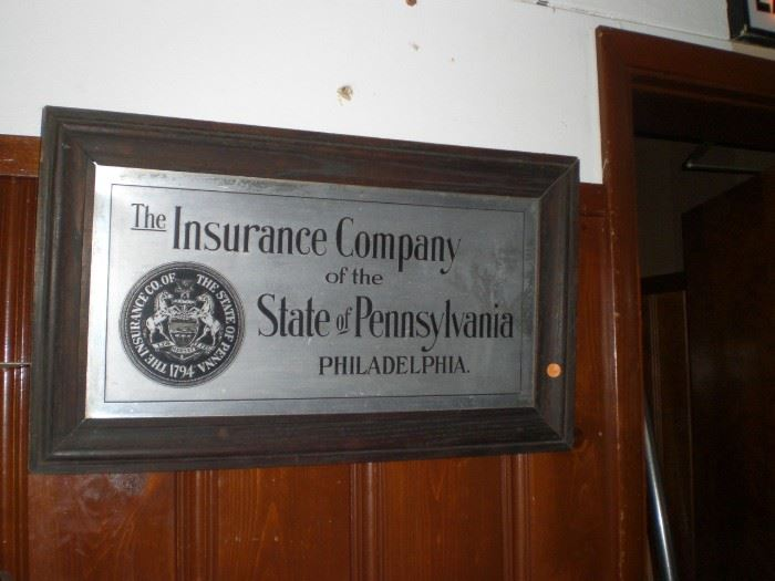 The Insurance Company of the State of Pennsylvania Philadelphia sign in Mission fumed oak frame c.1910