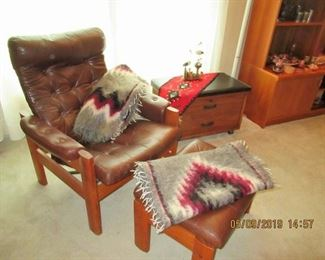 EKORNES LOUNGE CHAIR AND OTTOMAN, this is the real deal an older version with the German teak square bases. Comparable on 1st dibs