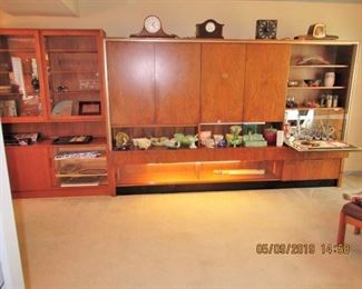 Vintage Rosewood wall Unit, with lighting and a Bar area, 118x73x18 appx dimensions/also a china cabinet by Svengard to the left which matches one of the  dining tables