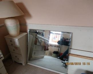 WHITE TWIN BED WITH DRESSERS AND MIRROR