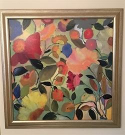 Framed Floral Abstract.